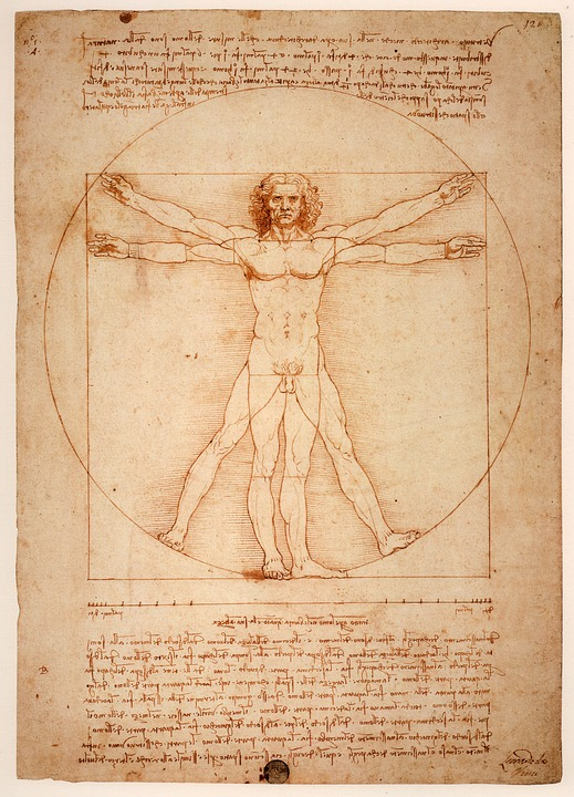 Da Vinci, Vitruvian Man of Ideal Proportions